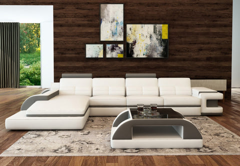 Divani Casa 6122C Modern White and Grey Bonded Leather Sectional Sofa  VIEW AVAILABLE SPECIAL ORDER COLORS