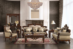 Homey Design HD-296 Chestnut and Hazelnut Chenille Fabrics Sofa  Set collection