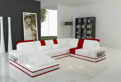 Divani Casa 5075 Modern White and Red Bonded Leather Sectional Sofa