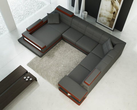 Divani Casa 5079 Grey and Dark Orange Bonded Leather Sectional Sofa