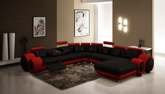 Divani Casa 4084 Modern Black and Red Bonded Leather Sectional Sofa