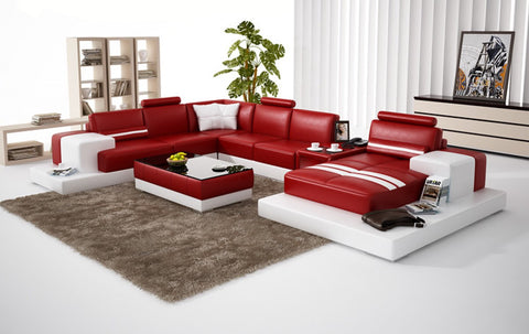 Divani Casa 6137 Modern Red and White Bonded Leather Sectional Sofa