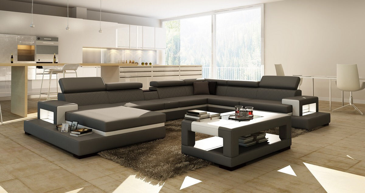 ... Divani Casa 5081 Grey And White Bonded Leather Sectional Sofa ...