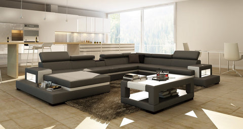 Divani Casa 5081 Grey and White  bonded leather Sectional Sofa