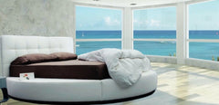 Modern Style Platform Leather Round Bed