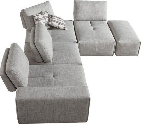 Divani Casa Platte Modern Grey Fabric Modular Sectional Sofa