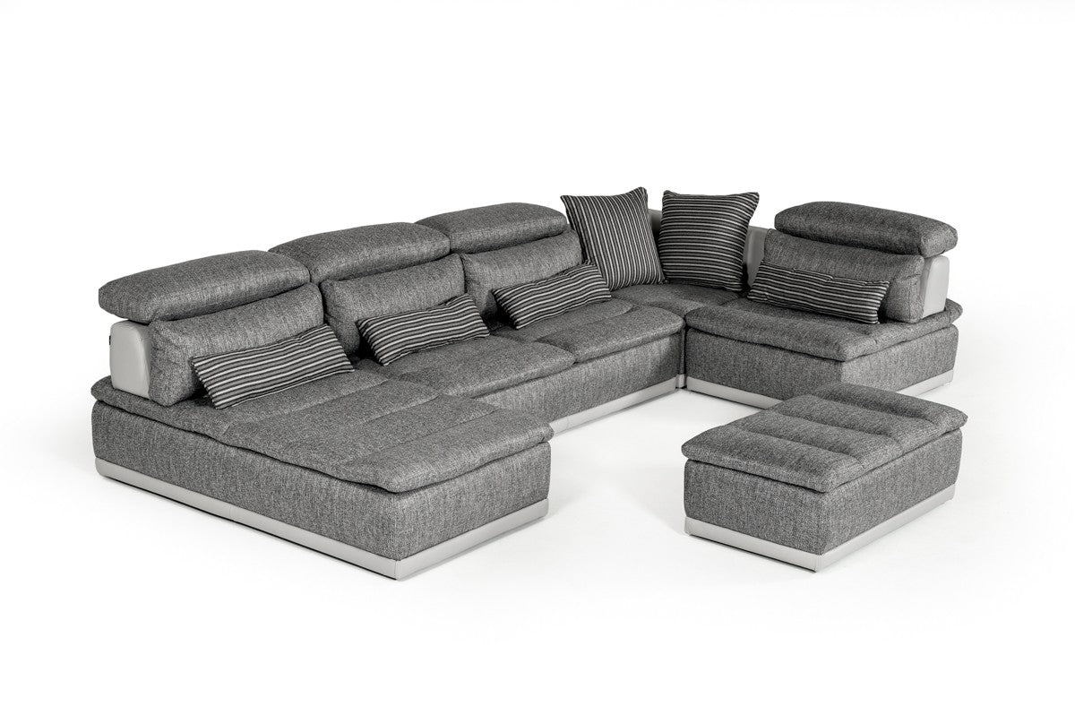 David Ferrari Panorama Italian Modern Grey Fabric Leather Sectional Sofa