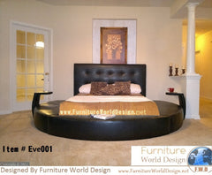 Modern Style Leather Round Bed