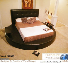 Elegant modern Style Eve Leather Circle bed with 2 Nightstands