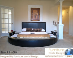 Eve-005 Modern Style Platform Leather Round Bed  With 2 Nightstands