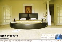Modern Style Leather Round Bed With 2 night Tables