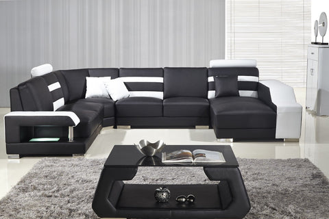 Divani Casa T356 Modern Black & White Bonded Leather Sectional Sofa