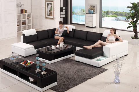 Divani Casa T715 Modern Black & White Bonded Leather Sectional Sofa