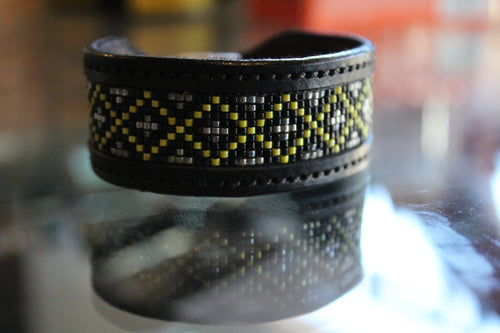 Black Beaded Leather Bracelet