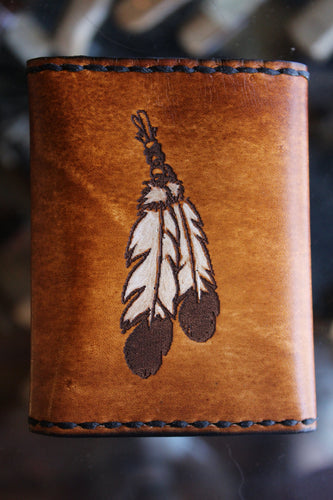 Feather Etched Tri-Fold Wallet