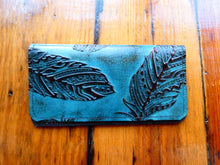 Feather Embossed Leather Checkbook Cover