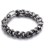 Goth Punk Men's Stainless Steel Skull Bracelet