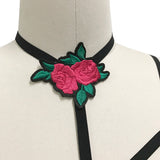 Gothic Cage Bra Harness With Embroidered Rose Choker