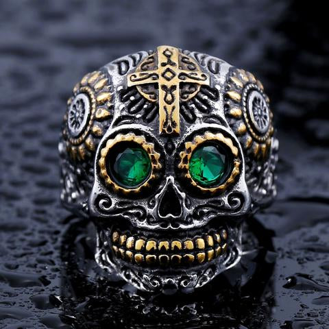 💀 Stainless Steel Sugar Skull Ring 💀