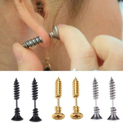 1 Set Screw Style Stud Earrings in Gold, Black or Silver