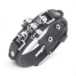Biker Goth Punk Skull Leather Bracelet