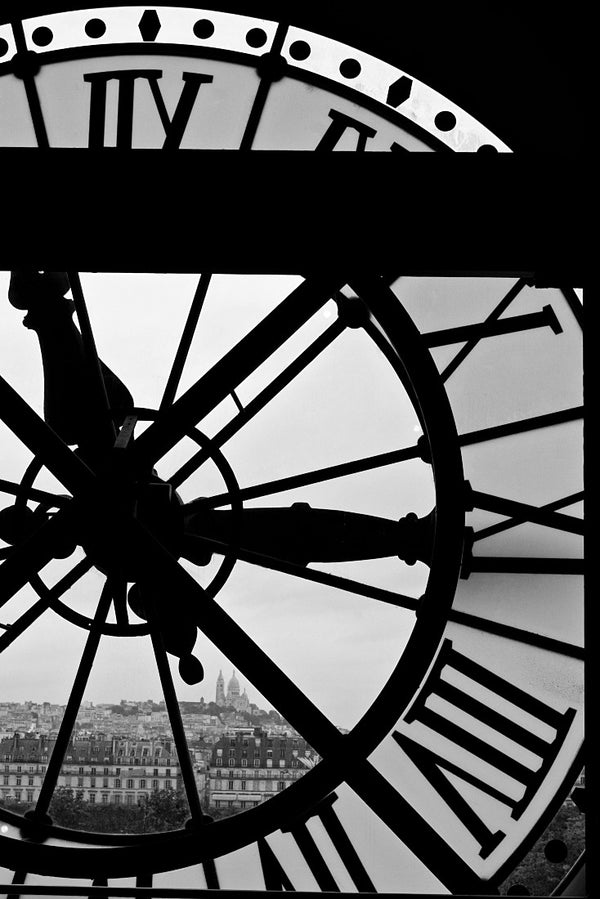 Orsay Clock Black and White Poster