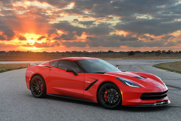 Red Hennessey Chevrolet Corvette Car Poster