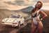 Sexy Hot Girl With Sports Rally Porsche Car Poster