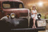 Dodge Auto Vintage Retro Car and Girl Poster