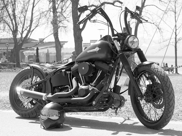 Motorbike Harley Davidson Black and White Poster