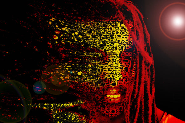Bob Marley Mask Abstract Artwork Poster