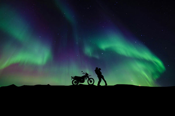 Couple Aurora Borealis Northern Lights Motorcycle Girl Poster