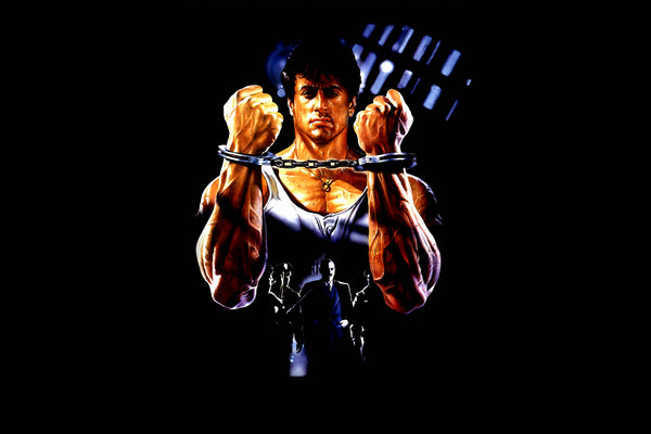 Sylvester Stallone Lock Up Dark Background Poster