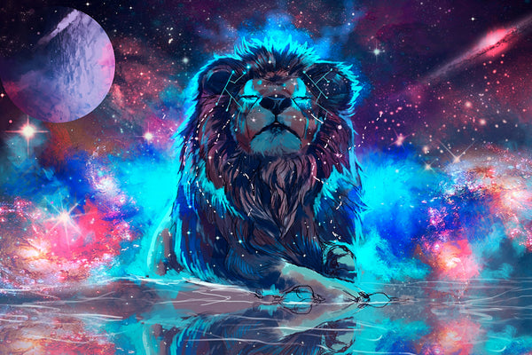 Lion Artistic Colorful Poster