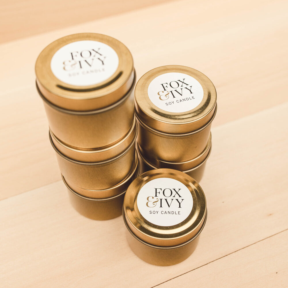 French Vanilla Soy Wax Mini Gold Tin Candle