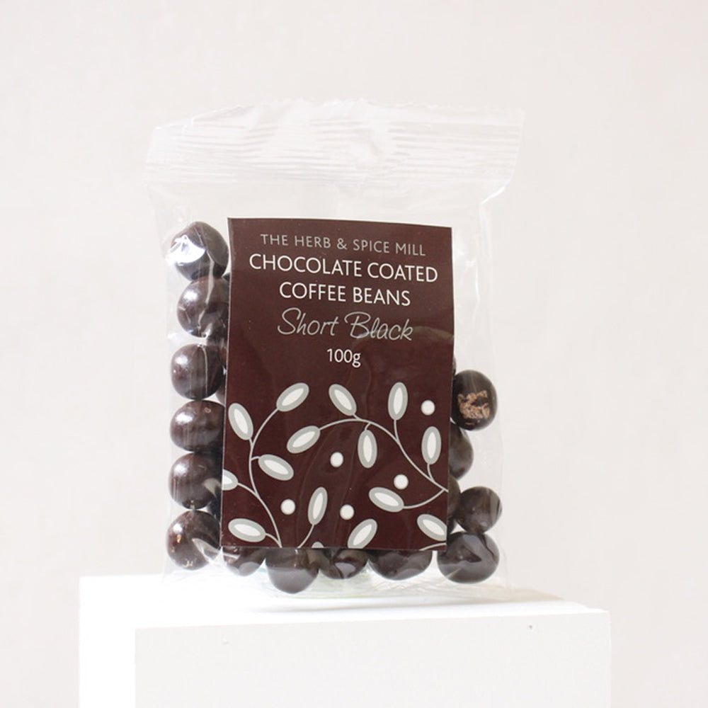Short Black Chocolate Coated Coffee Beans