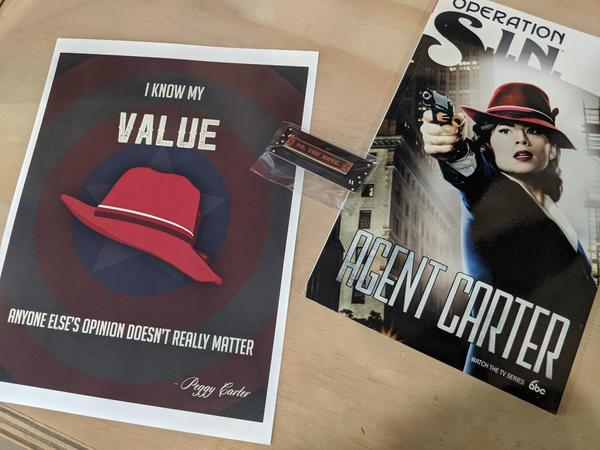 Perky Nerd Peggy Carter Trio Bundle - Trade Paperback, Pin, Print
