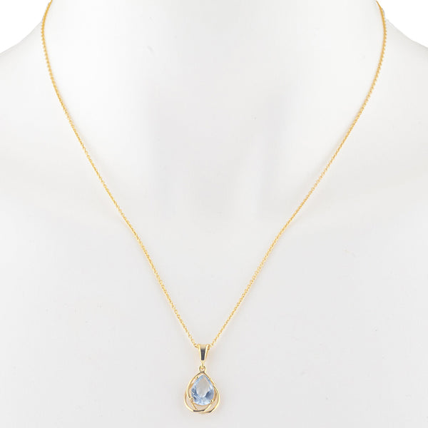 14Kt Yellow Gold Plated Aquamarine Pear Teardrop Design Pendant