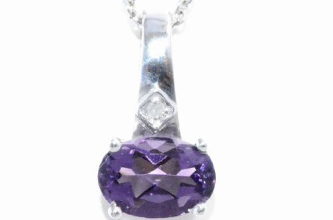 1 Ct Alexandrite Oval Diamond Pendant .925 Sterling Silver Rhodium Finish