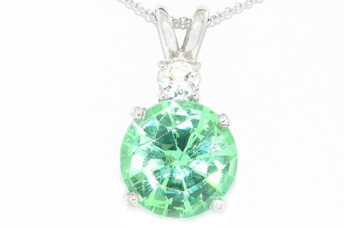 4 Ct Green Sapphire & Zirconia Round Pendant .925 Sterling Silver Rhodium Finish