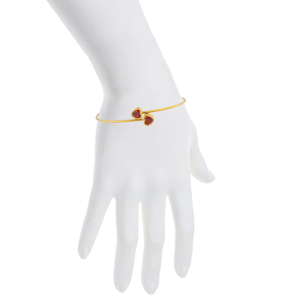 14Kt Yellow Gold Plated Garnet Heart Bezel Bangle Bracelet