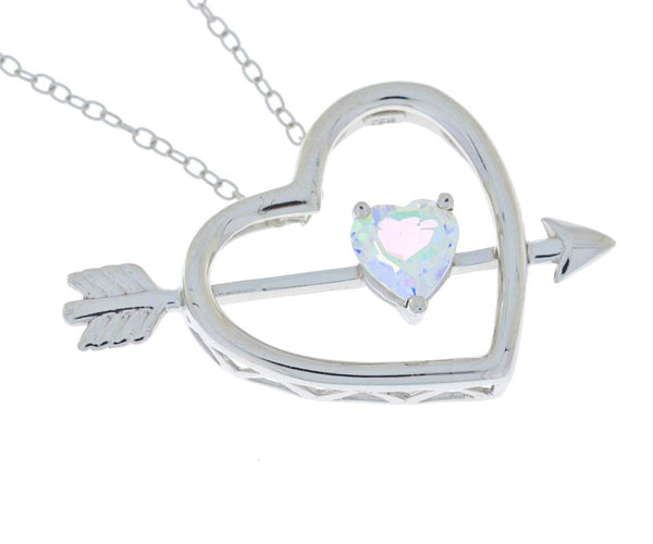 Genuine Mercury Mist Mystic Topaz Heart Bow & Arrow Pendant .925 Sterling Silver Rhodium Finish