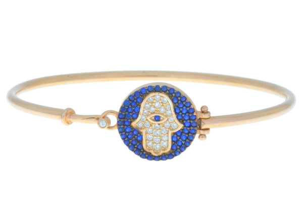 14Kt Yellow Gold Plated Hamsa Evil Eye Blue White CZ Bangle Bracelet
