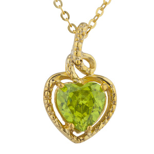 14Kt Gold Peridot Heart Design Pendant Necklace