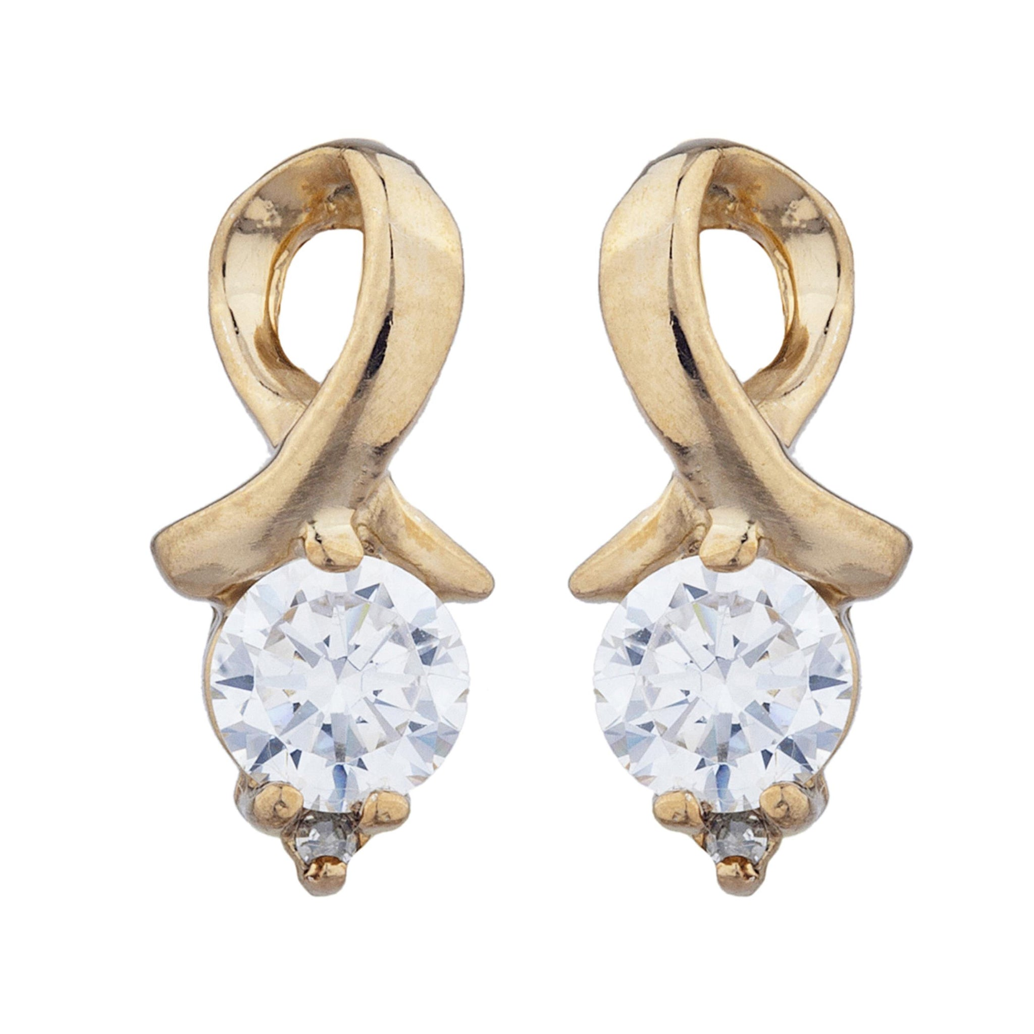 14Kt Yellow Gold Plated Cubic Zirconia & Diamond Round Design Stud Earrings