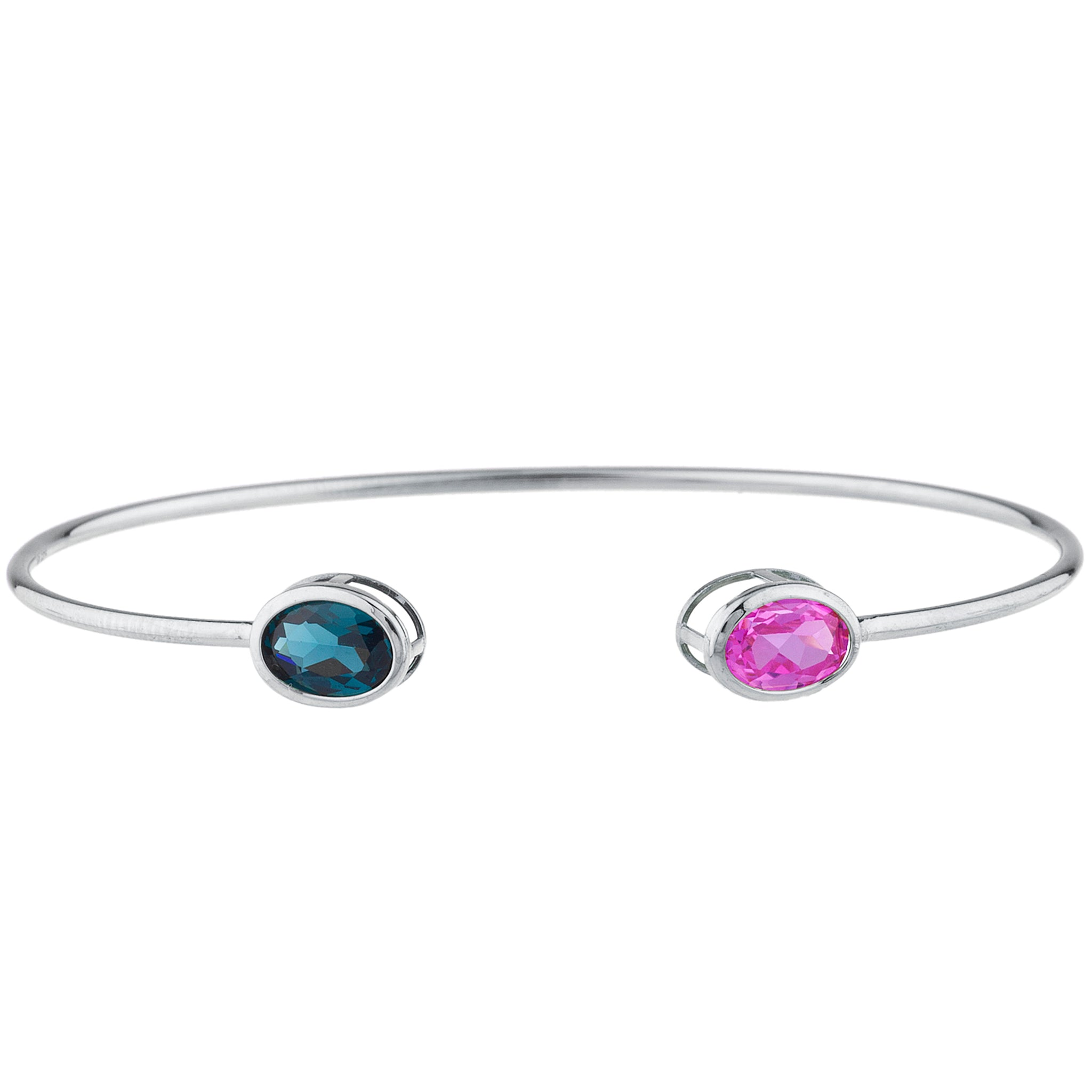 Pink Sapphire & London Blue Topaz Oval Bezel Bangle Bracelet .925 Sterling Silver