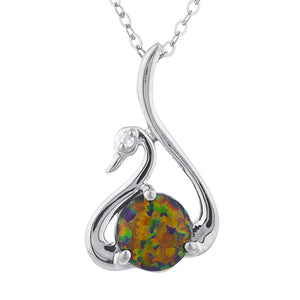 Black Opal & Diamond Swan Pendant .925 Sterling Silver