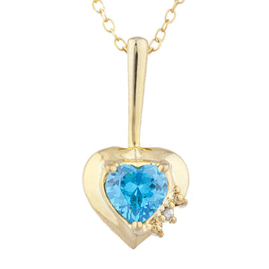 14Kt Gold Swiss Blue Topaz & Diamond Heart Design Pendant Necklace
