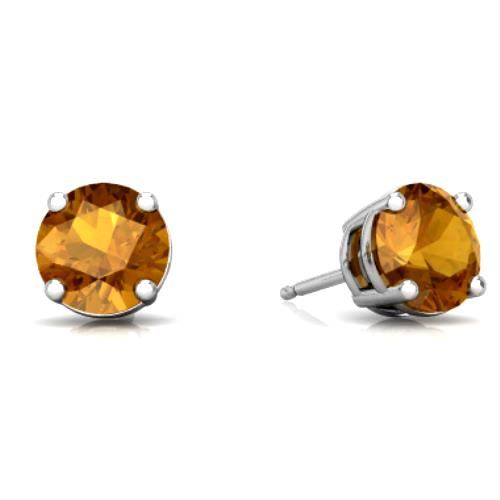 2 Ct Citrine Round Stud Earrings 14Kt White Gold