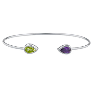 Peridot & Amethyst Pear Bezel Bangle Bracelet .925 Sterling Silver